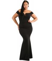 ブラック 大きいサイズ 袖 コラム ドレス lc61613-2