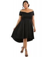 ブラック 大きいサイズ オフショルダー スイング ドレス lc61618-2p