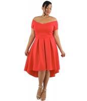 ローズ 大きいサイズ オフショルダー スイング ドレス lc61618-6p
