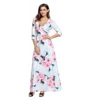 ホワイト 花柄 プリント ラップ ロング 自由奔放 ドレス lc61631-1