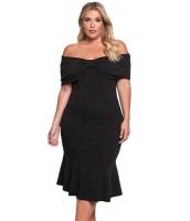 ブラック 大きいサイズ オフショルダー マーメイド ミディ ドレス lc61633-2
