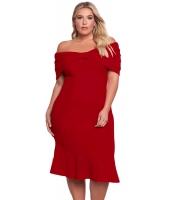 クラレット 大きいサイズ オフショルダー マーメイド ミディ ドレス lc61633-3