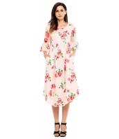 ピンク 七分丈ワイド袖 花柄 ミディドレス cc61649-10