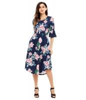 ネイビー ブルー 七分丈ワイド袖 花柄 ミディドレス cc61649-5