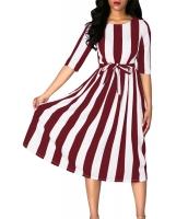 ワイン ストライプ プリント 半袖 ベルト付き ドレス cc61654-3