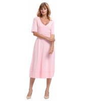 ピンク 半袖 Vネック ハイウエスト フレア ドレス cc61659-10