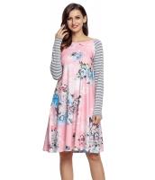 ピンク 花柄 ストライプ ラグラン袖 ドレス cc61670-10