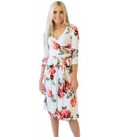 レッド 花柄 ホワイト ラップ 花柄 ドレス cc61682-3