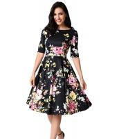 ブラック ビンテージ スタイル 花柄 半袖 スウィング ドレス cc61702-2