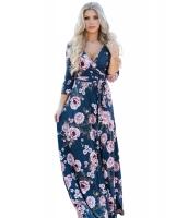 ネイビー ブルー ブルーミング 花柄 ラップ Vネック ボヘミアン ドレス cc61712-105