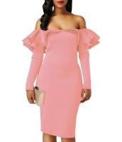 ピンク フリル オフショルダー 長袖 ボディコン ドレス cc61729-10