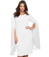 ホワイト プリーツ フレア袖 大きいサイズ ドレス cc61753-1