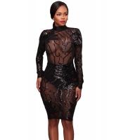 ブラック スパンコール装飾 ハイネック シースルー ボディコン ドレス cc61775-2