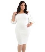 ホワイト プリーツ ショルダー 大きいサイズ ボディコン ドレス cc61781-1