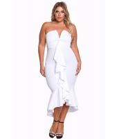 ホワイト 大きいサイズ ベアトップ カスケーディング フリル ハイロー ドレス cc61784-1