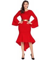 レッド ワイド袖 ディップ裾 ベルト付き ドレス cc61802-3