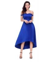 ブルー 輝き ハイロー パーティ イブニングドレス cc61850-5