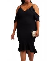 ブラック 大きいサイズ フリル コールドショルダー フラッシング ドレス cc61885-2