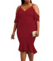 ブルゴーニュ 大きいサイズ フリル コールドショルダー フラッシング ドレス cc61885-3