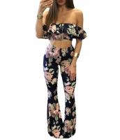 ネイビー 花柄 フリル クロップトップ & パンツセット cc62070-5