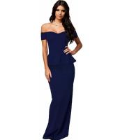 ブルー ぺプラム マキシ ドレス ドロップショルダー イブニングドレス cc6244-4