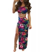 ネイビー トロピカル 花柄 ホット セクシー 2点セット ドレス cc63029-6