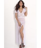大きいサイズホワイトメッシュ&Vネックランジェリードレス-cc6366-1p