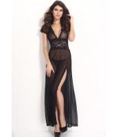 大きいサイズブラックメッシュ&Vネックランジェリードレス-cc6366-2p