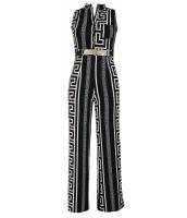 ブラック プリント ゴールド ベルト付き ジャンプスーツ cc64021-2