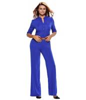 ブルー 五分袖 ベルト付き ワイドレッグ ジャンプスーツ cc64205-5
