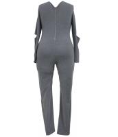 グレー 大きいサイズ スリット 長袖 ジャンプスーツ cc64212-11