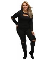 ブラック 大きいサイズ スリット 長袖 ジャンプスーツ cc64212-2