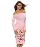ピンク 長袖 オフショルダー くりぬき ボディスーツ ドレス cc64215-10