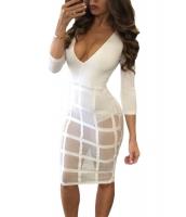 ホワイト ケージ スカート 長袖 ボディスーツ ドレス cc64218-1