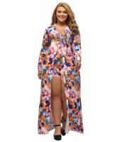 大きいサイズ 袖 花柄 ロンパース マキシ ドレス cc64221-22