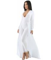 ホワイト マキシ スカート オーバーレイ エレガントパーティー ジャンプスーツ cc64245-1