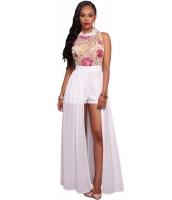 ホワイト メッシュ 刺繍 シフォン ロンパース マキシ ドレス cc64265-1