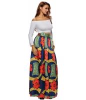 カラフル 花柄 アフリカン プリント ネイビー マキシ スカート cc65008-22