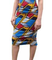 トレンディ アフリカン ファッション プリント ボディコン ミディ スカート cc65013-1022