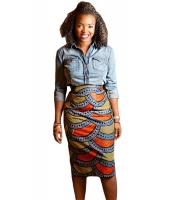 スタイリッシュ アフリカン ファッション プリント ボディコン ミディ スカート cc65013-22