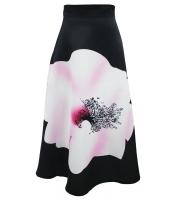 ビッグ 花柄 プリント ブラック ハイウエスト マキシ スカート cc65017-2