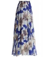 ブルー 花柄 シフォン マキシ スカート lc65039-5