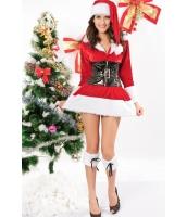 クリスマス サンタ コスチューム コスプレ ストレッチ ベルベット ランジェリー コスチューム-cc7131