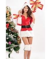 クリスマス サンタ コスチューム コスプレ 三点セット 帽子付 ファー トリム ベルベット サンター ドレス-cc7176-1