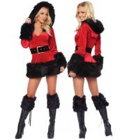 クリスマス サンタ コスチューム コスプレ 三点セット フード ファー トリム ベルベット サンタ コスチューム コスプレ-cc7176-2