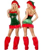 【即納】レディースサンタークリスマスコスチューム-cc7251 tk-cc7251-gr-f【カラー:グリーン】【サイズ:フリー】