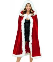 デラックス ベルベット クリスマス フード付き ケープ マント コスチューム -cc7257