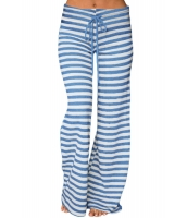 ブルー ホワイト ストライプ ワイドパンツ lc77022-5