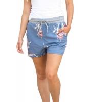 フラッシュ 花柄 ブルー カジュアル ショーツ cc77024-4