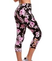 ブラック ピンク 花柄 クリスクロス レギンス cc77026-6